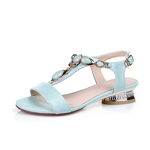 AgooLar Women's Low-heels Soft Material Solid Buckle Open Toe Sandals with Thread Blue