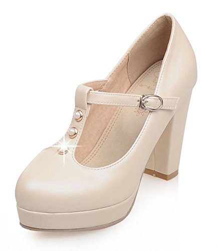Chfso Femmes Plate-forme Coupe Basse Bout Rond Chunky Talon T-strap Pompes Chaussures Beige