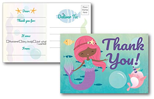 25 Fill in Mermaid Thank You Cards for Kid's Birthday Party, Perfect for Baby Shower, Bridal Shower, Mermaid Party Decorations, Postcard Style Option No Envelopes Needed, Girls 4x6 Thank You Notes by L&P Designs
