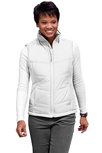 (Port Authority Women's Puffy Vest M White/Dark Slate)