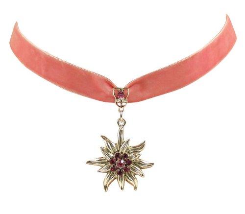 Trachtenschmuck Dirndl Edelweiss Kropfband aus Samt - rosa pink - Fuchsia pinken und Rose rosanen Strasskristallen