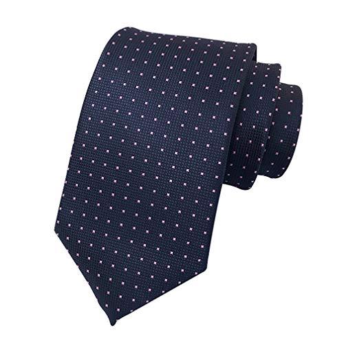 MENDENG Men's Navy Blue with Pink Polka Dot Silk Tie Wedding Necktie Suit Ties