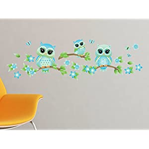 Owls on Branches Fabric Wall Decal – Blue – Set of 3 Owls on Tree Branches with Flowers and Butterflies – 4 Color Options – Non-Toxic, Reusable, Repositionable