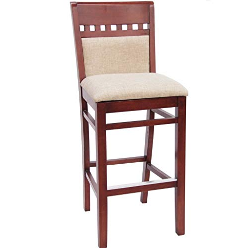 MK6073BS Mahogany Finished Solid Back Wooden Restaurant Barstool - Finished Mahogany Bar Stool
