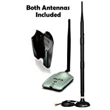 2000mW 2W 802.11g/n High-Gain USB Wireless G / N Long-Range WiFi Network Adapter With Original Alfa Screw-On Swivel 9dBi Rubber Antenna with magnetic base and Suction cup Window Mount dock *Strongest on the Market*