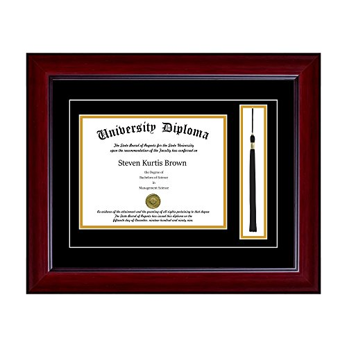 Single Diploma Frame with Tassel and Double Matting for 15