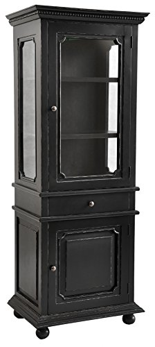 Casual Elements Santa Fe Glass Display Cabinet, Light Distressed Black