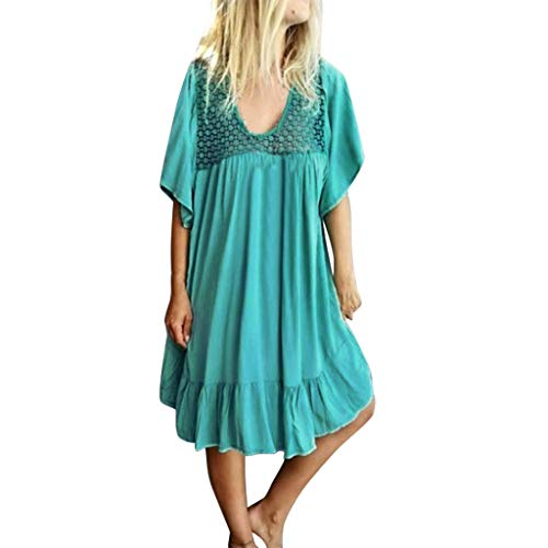 (Matasleno Women's Cold Shoulder Tunic Top T-Shirt Swing Dress with Pockets Light Blue)