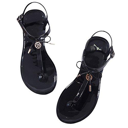 Cybling Womens T-stropp Flate Sandaler Thong Bowknot Sommer Strand Sko Svart Rosa Skli