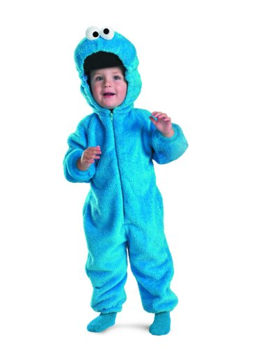 10 Month Old Boy Halloween Costume (Sesame Street Cookie Monster Deluxe Two-Sided Plush Jumpsuit Costume (12-18)