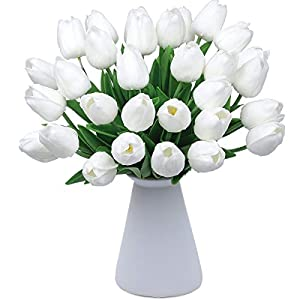 "CountryGrass 24pcs Artificial Tulip Flowers Real Touch PU Tulips Floral Arrangement Yellow White Pink 14"" for Wedding Home Centerpiece Decoration Hotel Party Decoration (White) 111"