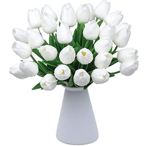 (CountryGrass 24pcs Artificial Tulip Flowers Real Touch PU Tulips Floral Arrangement Yellow White Pink 14