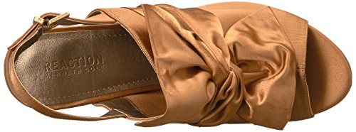 Kenneth Cole REACTION Women's Reach Beyond Peep Toe Dress Sandal With Twisted Bow Detail, Flared Heel-Satin Slide Pump Ochre