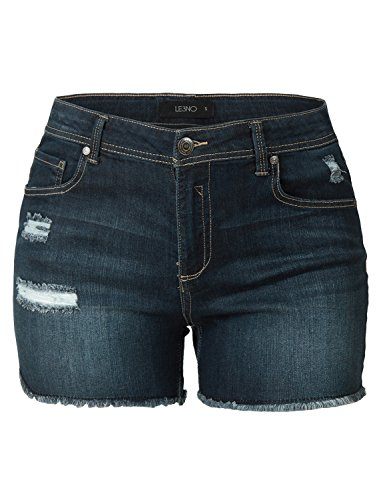 LE3NO Womens Plus Size Lightweight High Waisted Summer Denim Shorts With (Plus Denim Shorts)