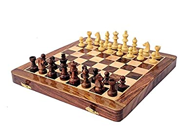 """SUZOBHITA HANDICRAFTS Rose wood Handmade Folding Magnetic Travel Chess Game Board Set With nicely Crafted Pieces, 12"""" X 12"""""""