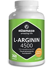 L-Arginine 4500 mg, Hoge Dosis, Zuivere Vitaminen, 360 Capsules, 2- 3 Maanden Voorraad, Beste Bio-Beschikbaarheid, Supplement zonder Additieven, Made in Germany