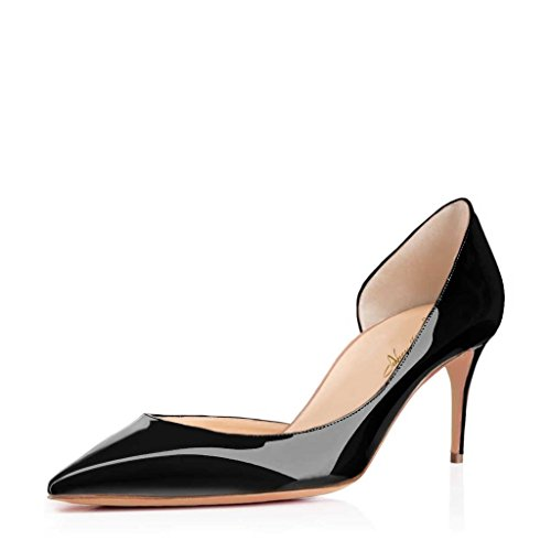 Nancy Jayjii Leather Shoes for Women Pointed Toe Low Heels Pumps Half D'orsay for Office Lady Stilettos 4 (Black)