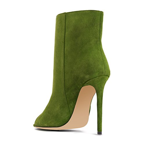 Toe Green Suede Booties Women For Elegant Ankle Faux Heel Boots Pumps High XYD Peep Stiletto 4wBS6z