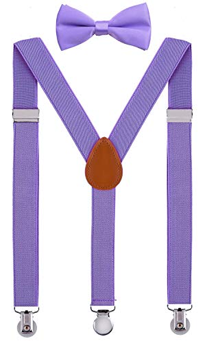SUNNYTREE Baby Boy's Suspenders Adjustable Y Back with Bow Tie Set 24 inches Purple ()
