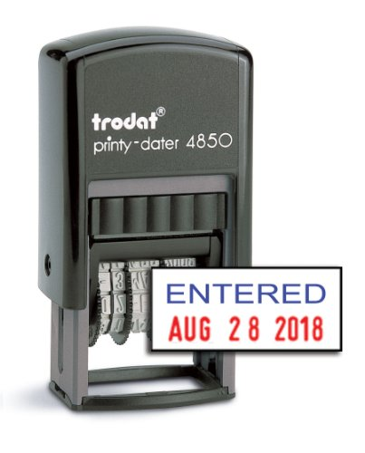"Trodat 4850 Date Stamp with ""ENTERED"", 2-Color Self Inking Stamp - Blue/Red Ink"
