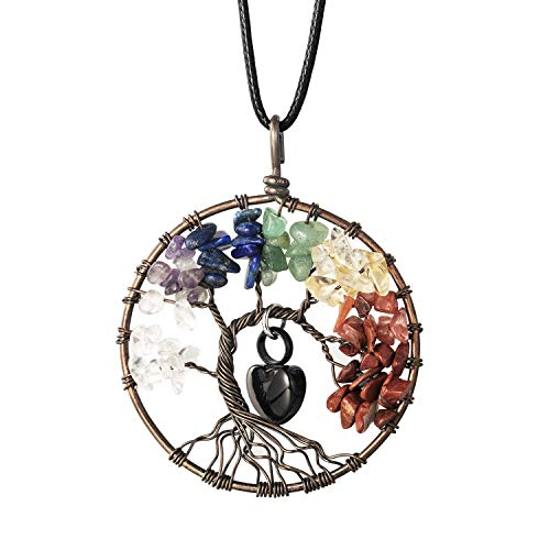 (IMEIM Tree of Life with Urn Heart Cremation Urn Necklace Pendant Crystal Gemstone in Loving Memory)