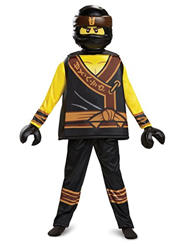 Disguise Cole Lego Ninjago Movie Deluxe Costume, Yellow/Black, Medium (7-8) -