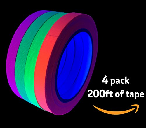 Glow Party UV Blacklight Reactive 200 ft. total - GREAT VALUE - Fluorescent Neon Tape 1/2 in x 50 ft - (4 Pack - Pink, Green, Yellow, Orange - Matte - Orange Matte Finish