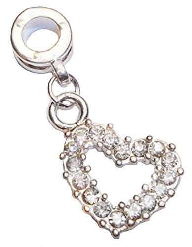 Clear Rhinestone Heart April Birthstone Dangle Bead for European Charm Bracelets Crafting Key Chain Bracelet Necklace Jewelry Accessories Pendants