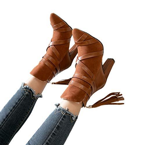 Altos Otoño 42 Señoras Zapatos Sexy Fiesta Tacón 34 Zodof Hebilla Mujer Boda Amarillo2 Talones Chelsea Botas Romano Rivet Alto Plataforma Tobillo Botines Invierno Moda wz6zZxqP7B