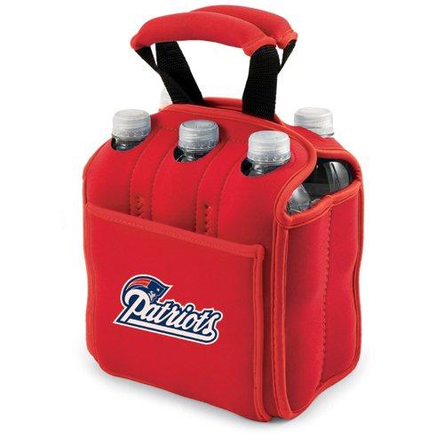 NFL Digital Print Six Pack Beverage Carrier NFL Team: New England Patriots, Color: Red