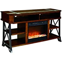 Ashley Furniture Signature Design - Vinasville TV Stand with Fireplace Option - 60in with 6 Shelves and 2 Cubbies - Vintage Casual - Brown