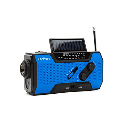 41O0GLrzj7L - 2018 Upgraded Emergency Weather Radio Solar Phone Charger NOAA Hand Crank Dynamo AM/FM with Bright Flashlight, plus LED Camping Reading Lamp and, 2000mAh Power Bank USB 2.0