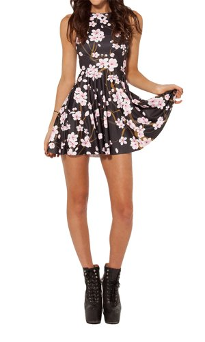 Jelinda Summer Pleated Print Cherry Blossom Reversible Skater Dress(black)