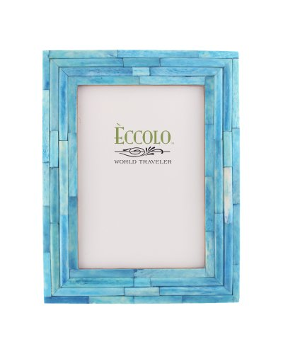 Eccolo World Traveler Naturals Collection Bangalore Raised Interior Frame, Holds 4 by 6-Inch Photo, Turquoise -