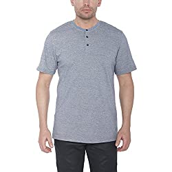 Mens 100% Cotton Designer T Shirt Button-up Crew Neck 3505 Heather Charcoal S