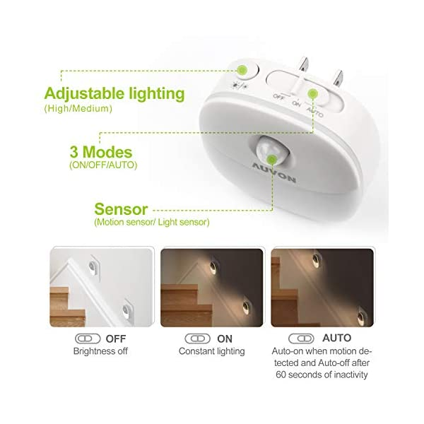 AUVON Plug-in LED Motion Sensor Night Light, Mini Warm White LED Nightlight with Dusk to Dawn Motion Sensor, Adjustable… 2