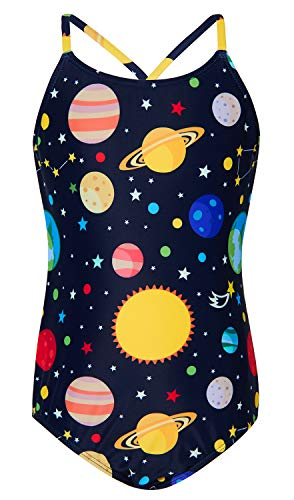 BFUSTYLE 4T Clorful Blue Green Gray Black Navy Space Galaxy Sphere Star Rocket Print One-Piece Swim Suit Beach Wear Girl
