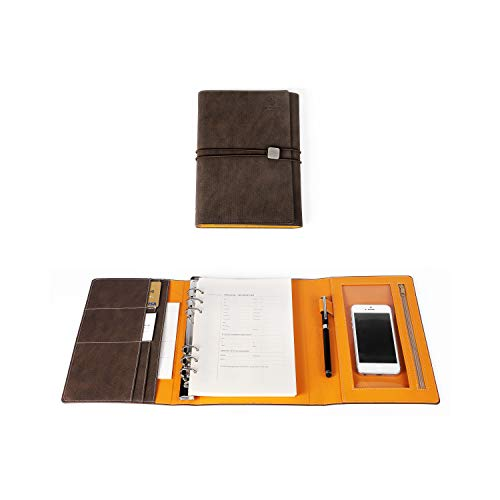 (JCT Hardcover Organizer Notebook - Leather Journal with Pen Holder + Phone Pocket + Business Card Holder + Round Ring Binder, Bonus Touch screen Pen & A5 6 Hole Resume Papers & Sticker (Chocolate))