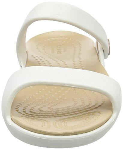 Gold Sandalias Flip Oyster Mujer Cleo Crocs V para Flop Blanco zHfEqw