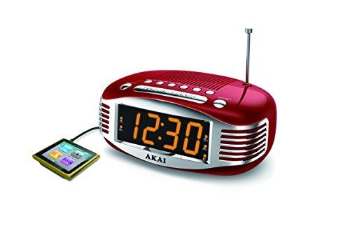 akai retro style radio alarm clock red ce1500r home garden decor clocks clocks radios. Black Bedroom Furniture Sets. Home Design Ideas
