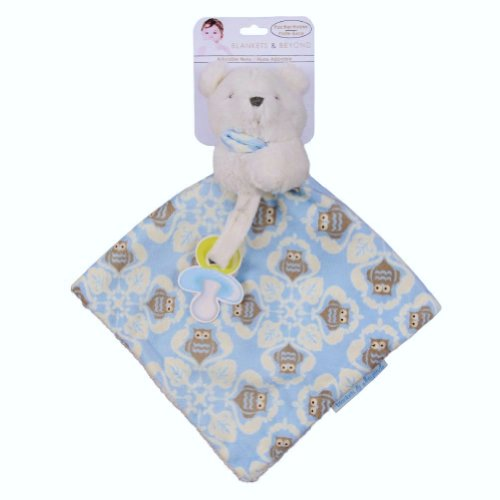 Blankets & Beyond White Teddy Bear with Blue Owls