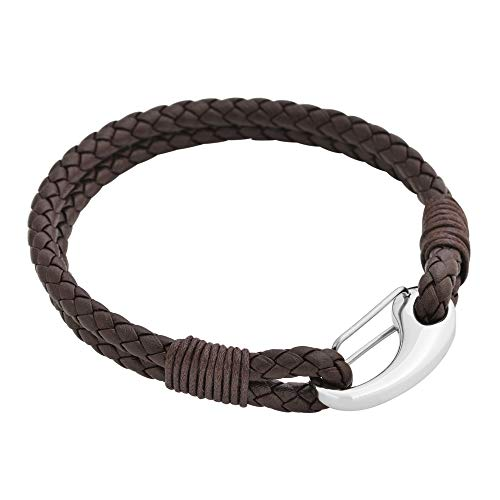 Edforce Braided Genuine Leather 2-Strand Cuff Bracelet with Stainless Steel Clasp (Brown) (Mens Braided Bracelet Brown)