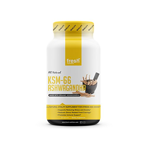 KSM-66 Ashwagandha - Organic Root Extract - High Potency 5% Withanolides - Reduces Stress & Anxiety Relief like Kava Kava - Energy & Focus - 45 Day Supply Launch Price - 90 Veggie Capsules Ashwagandha Extract