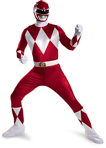 Mighty Morphin Power Ranger Costumes Adults (Disguise Sabans Mighty Morphin Power Rangers Red Ranger Super Deluxe Mens Adult Costume, Red/White, X-Large/42-46)