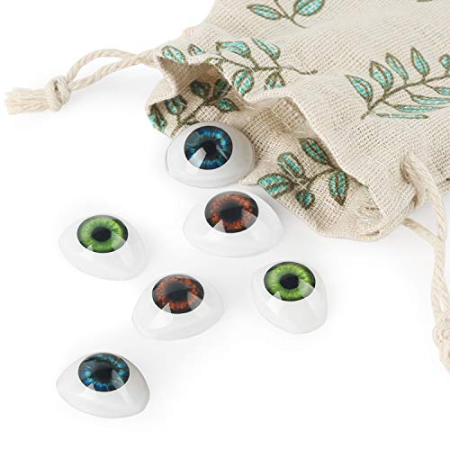 Vollence 3 Pair of 3 Colors Oval Flat Hollow Plastic Eyes Puppet Doll Bear Craft Eyes Eyeballs Mask Making DIY Supplies for Porcelain or Reborn Dolls Stuffed Animal Toys Troll Scary Eyes -