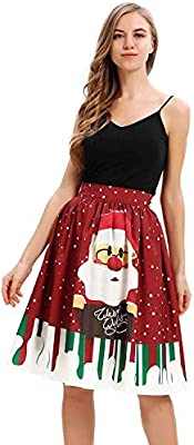 MJY Moda Mujer Casual Falda de Navidad Papá Noel Flare Elástico ...
