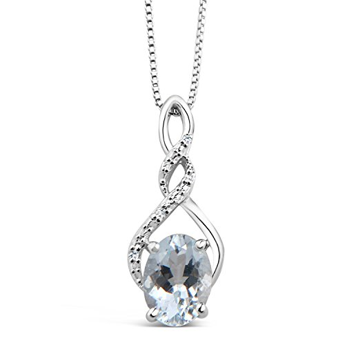 Aquamarine Necklace in Sterling Silver with Diamond Accents