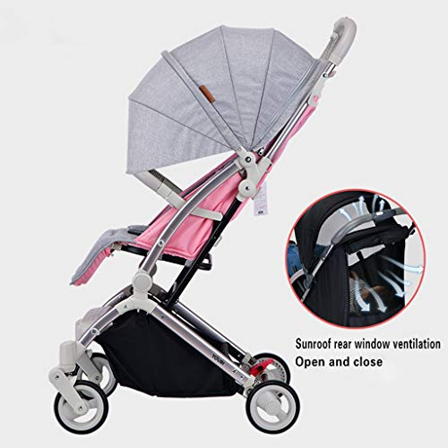 JIAX Foldable Baby Stroller,Travel System with Baby Basket Anti-Shock Springs Newborn Baby Pushchair Adjustable High View Pram Travel System Infant Carriage Pushchair (Color : Pink Gray)