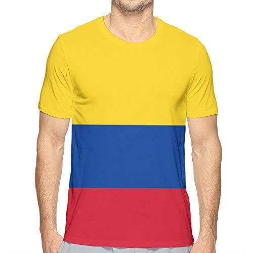 - Wsrtfg-uI Mens T-Shirt, Colombia Flag with Bald Eagle Round Neck Short-Sleeve Lightweight Soft T-Shirts