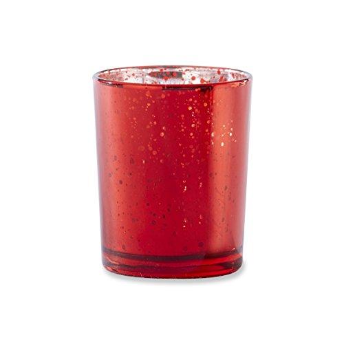 Kate Aspen Mercury Glasses Tealight Holders (Set of 4), Red